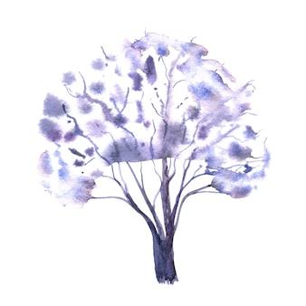 白い背景の上の白い冬の木。手描きの水彩イラスト。