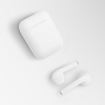 화이트 무선 이어 버드 케이스 디지털 이어폰