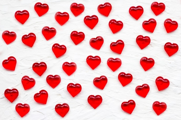 White with red hearts