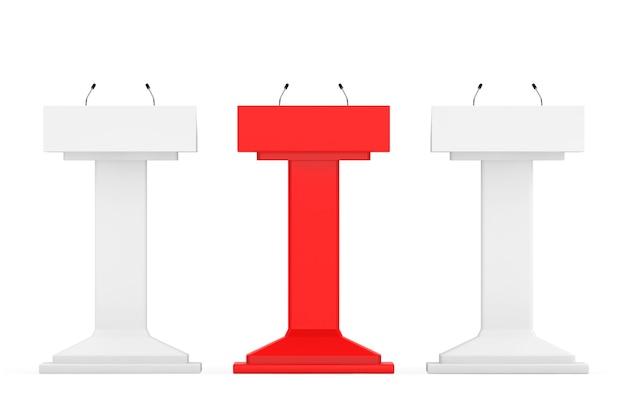 Белый с красным один подиум трибуна трибуны стоит с микрофонами на белом фоне