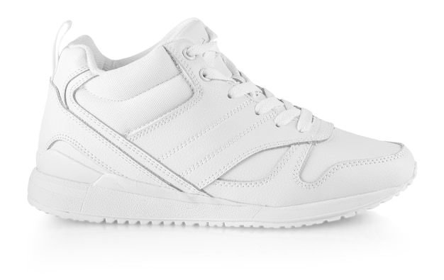 The white women's winter sneakers isolated on white. pair of trendy women