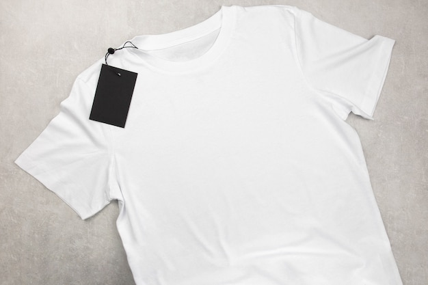 White womens cotton tshirt mockup with label, design t-shirt template