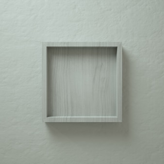 White wood 3d square box wall display