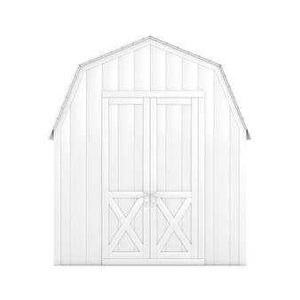 白い背景の上の粘土スタイルのガーデンツールのための白い木の小さな家の小屋の収納小屋。 3dレンダリング