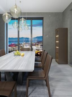 Белая деревянная столешница с фруктами в столовой. 3d рендеринг
