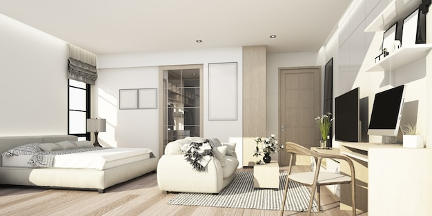 White and wood texture bedroom with living area with wall decoration and tv cabinet