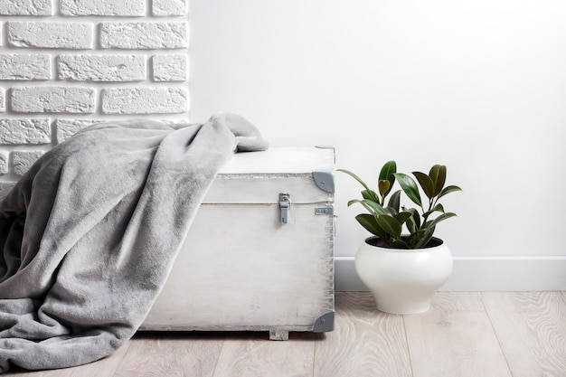 White wooden box with gray soft fleece blanket on it and young rubber plant in white flower pot. white wall with bricks on background. copy space
