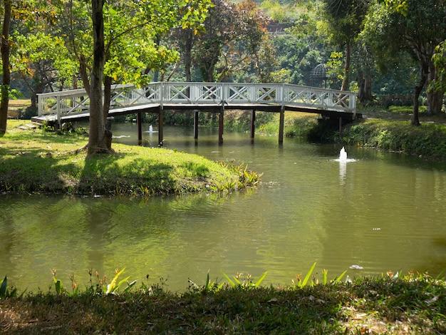 Белый деревянный мостик через пруд озеро в садовом парке