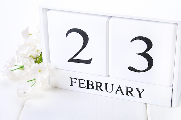 White wooden calendar with black 23 february word with clock and plant on white wood table.