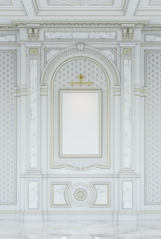 White wooden carved panels in classic style with marble inserts.