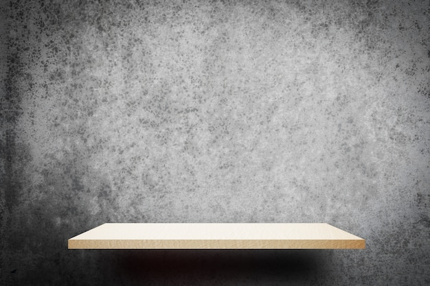 White wooden empty shelf on gray wall background for product display