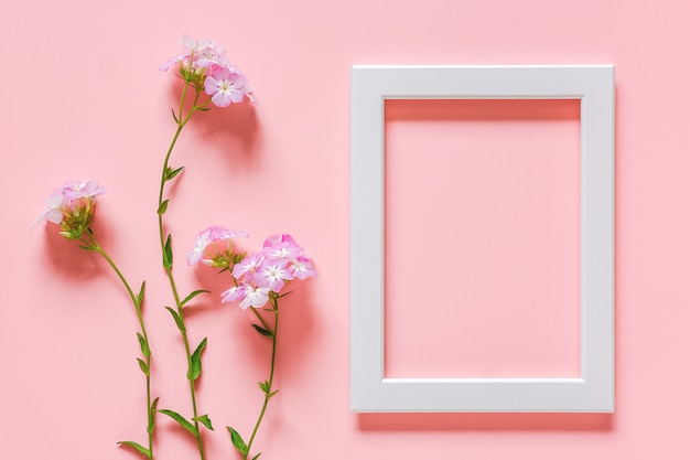 White wooden frame and flowers
