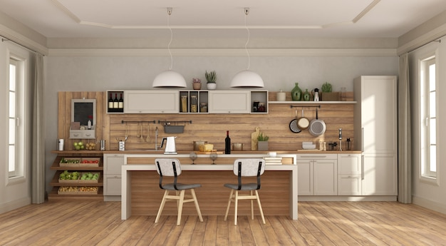 White and wooden kitchen with with island