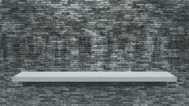 White wooden shelf on a grunge brick wall