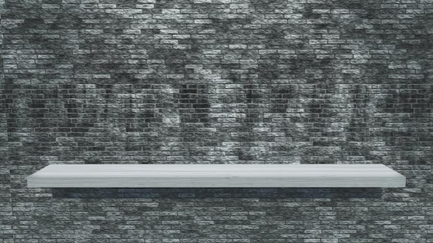 Белая деревянная полка на кирпичной стене гранжа