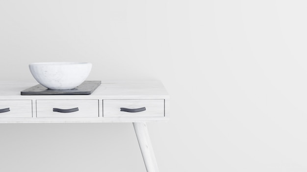White wooden table with marble bowl