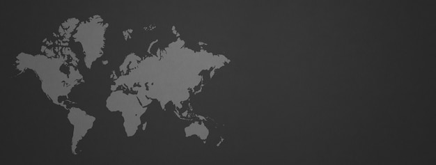 White world map isolated on black wall surface
