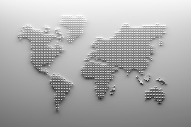 White world map outline with dots