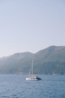 帆を下げた白いヨットのカタマランは、山に向かって海を航行します