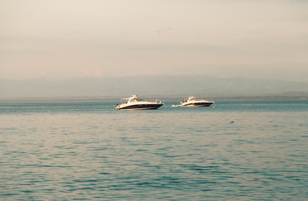 White yachts in sea