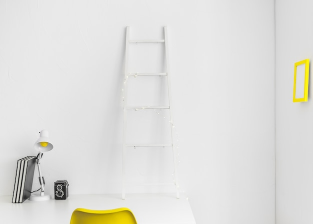 White and yellow modern workplace
