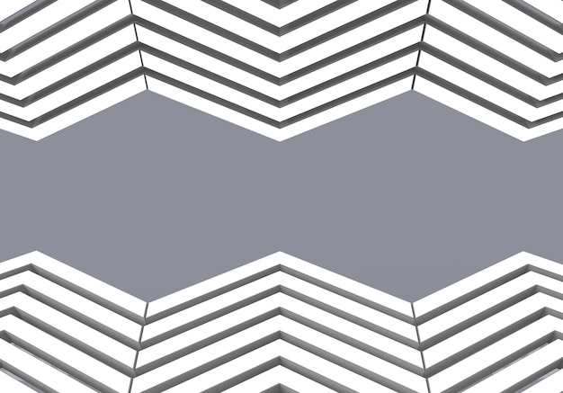 White zig zag pattern decor at up and down on gray background.