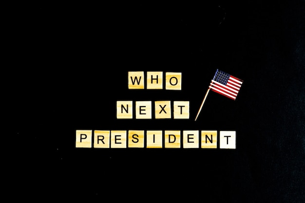 Who is the next president concept with an american flag