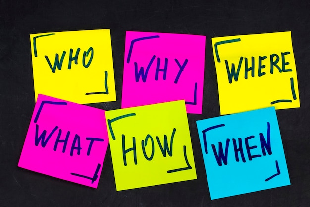 誰が、なぜ、どのように、何を、いつ、どこで質問するか-不確実性、ブレーンストーミング、または意思決定の概念、blackboardの背景にカラフルな付箋を設定します。