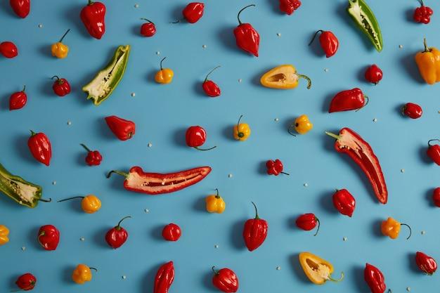 전체 및 컷 벨 달콤한 다채로운 고추와 블루 스튜디오 배경에 고립 된 그들의 씨앗. 국내 정원에서 수확 한 야채. 풍부한 수확, 농업 및 비타민 개념. 슈퍼 푸드