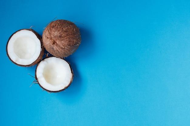 파란색 배경에 전체 및 등분 코코넛