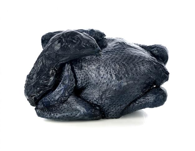 全体の黒い鶏、シルキー、白い背景に隔離