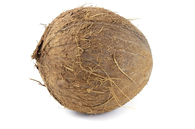 전체 코코넛 흰색 배경에 고립입니다. 프리미엄 사진