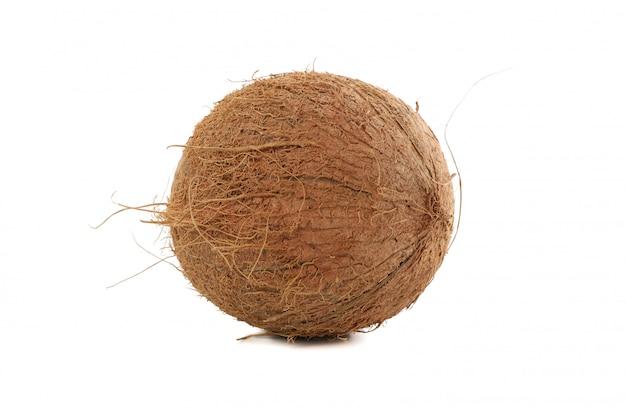 Весь кокос изолированный на белизне. тропический фрукт