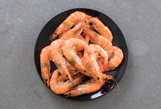 Whole cooked tiger prawn
