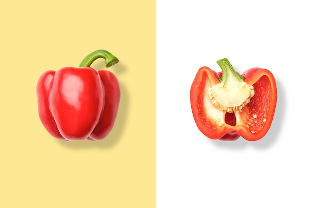 Whole and cut red bell pepper