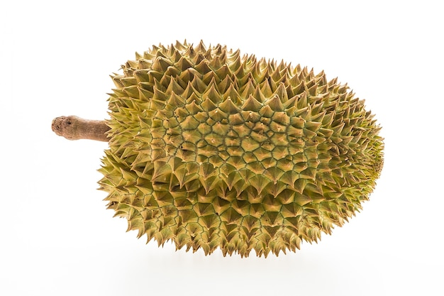 Whole durian on white background