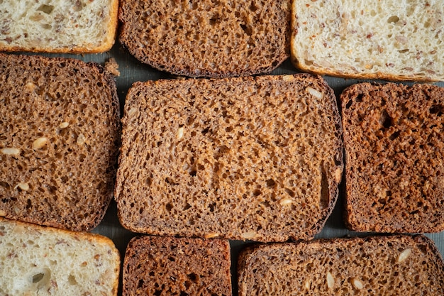 Whole-grain bread with visible detailed texture, diverse types