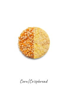 Whole grain crispbread and corn isolated on white background, top view
