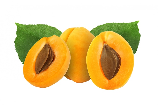 Whole and half apricot with stone and leaf isolated on white background  with clipping path