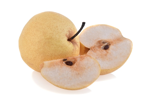 Whole and half of chinese pear isolated on white background
