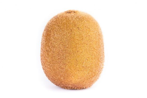 A whole kiwi fruit on white background