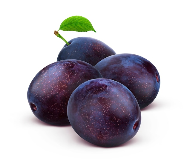 Whole plums isolated on white