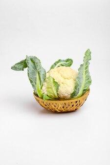 Whole raw cauliflower, whole vegetable, isolated on white background