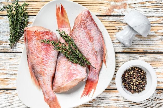 접시에 전체 원시 붉은 도미 물고기.
