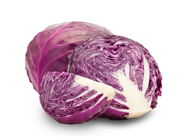 Whole red cabbage and half isolated on white with clipping path