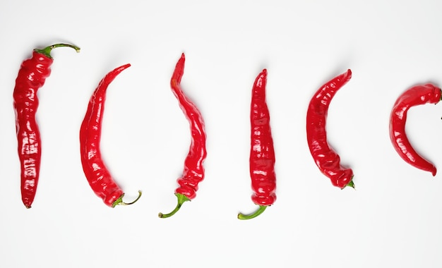Whole ripe red hot chili peppers