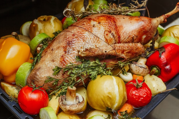 Whole roasted stuffed goose with apples, herbs and vegetables