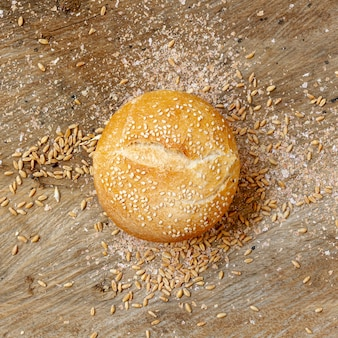 Whole size bun with sesame seeds