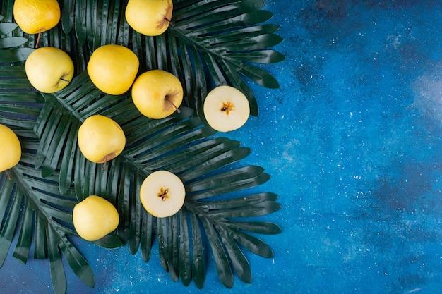 Mele gialle fresche intere ed affettate sulla foglia verde.
