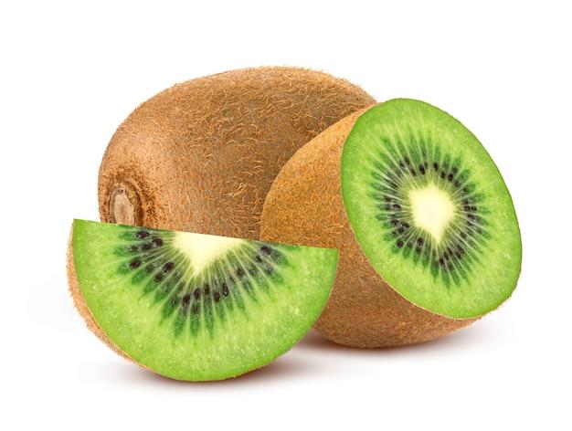 Whole and sliced kiwi